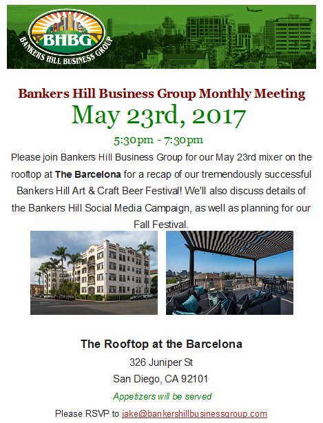 Bankers Hill Business Group Meeting May 23rd
