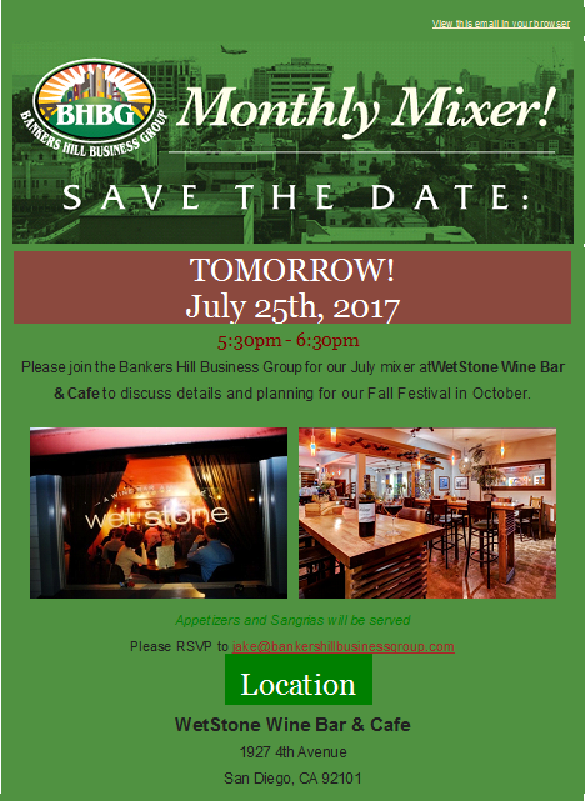 BHBG Monthly Mixer, July 25, 2017