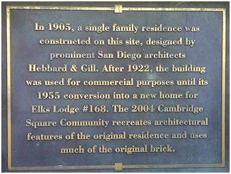 Elks Lodge, Plaque