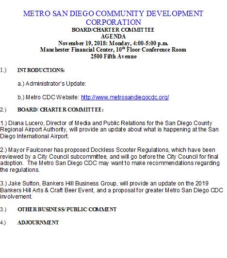 Metro San Diego CDC Agenda, 19Nov2018
